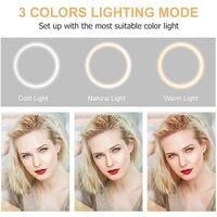 LED Ring Light with Tripod, 10.2 '' LED Ring Light with 3 Lighting Modes 10 Brightness Levels for Video / Photo / Makeup