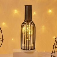 1 Vintage Metal Battery Operated Table Lamp with LED Bulb for Wedding, Party, Patio, Indoor and Outdoor Events (C)