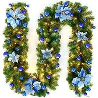 270cm Christmas Tree Garland, Christmas Artificial Tree Garland Lighted Lamp LED Lamp Decoration for Christmas Tree Door Staircase Fireplace (Blue)
