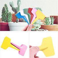 180Pcs T-Type Etiquettes en Plastique de Plante T- Tag Epaisse Etanche Multicolores pour Plantes Jardin (6 x 10cm)