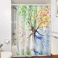 Waterproof and Mold Proof Shower Curtain for Bathroom, with Hooks, Polyester, 3d-colorful Tree, 180x180cm