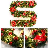 270cm Christmas Tree Garland, Christmas Artificial Tree Garland Lighted Lamp LED Lamp Decoration for Christmas Tree Door Staircase Fireplace (Red)