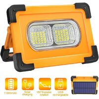 Rechargeable LED Flood Light 80W 4000 Lumens Portable Floodlight with Solar Panel 4 Modes Super Bright Work Light with 11000mAh Battery for Camping, DIY