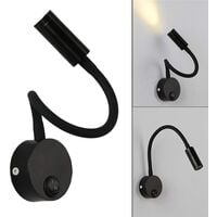 2 Pieces Black Wall Reading Light 3W, Flexible Neck Adjustable Wall Lamp Aluminum Desk Lamp, Bedside Lamp with Switch LED Eye Care
