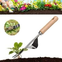 Manual weed tool, made of stainless steel, anti-kink with smooth natural wood handle, premium quality manual weed tools for garden