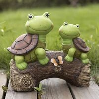 Garden Statue Turtles Figurine - Cute Frog Face Turtles Animal Sculpture with Solar LED Lights for Indoor Outdoor Winter Decorations, Patio Yard Lawn Ornaments Gift, 10.2 x 8.5 Inch
