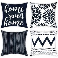 Geometric Throw Pillow Covers Set of 4 Modern Decorative Pillowcases Home Sweet Home Pillow Covers Yellow Cushion Covers for Couch Sofa Bedroom(Dark Blue, 18 x 18 Inch)