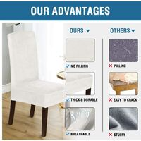 Velvet Dining Chair Covers Stretch Chair Covers for Dining Room Set of 4 Parson Chair Slipcovers Chair Protectors Covers Dining, Soft Thick Solid Velvet Fabric Washable, Off-white