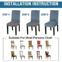 Velvet Dining Chair Covers Stretch Chair Covers for Dining Room Set of 4 Parson Chair Slipcovers Chair Protectors Covers Dining, Soft Thick Solid Velvet Fabric Washable,Gray blue