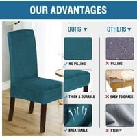 Velvet Dining Chair Covers Stretch Chair Covers for Dining Room Set of 4 Parson Chair Slipcovers Chair Protectors Covers Dining, Soft Thick Solid Velvet Fabric Washable, Deep water blue