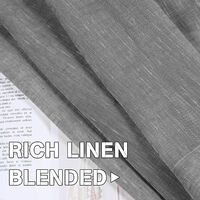 52 - Inch Width by 108 - Inch Length Natural Linen Blended Curtain Panels for Living Room / Light Reducing Linen Sheer Curtains, Nickel Grommet Window Panels -Set of 2, Light gray
