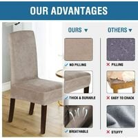 Velvet Dining Chair Covers Stretch Chair Covers for Dining Room Set of 4 Parson Chair Slipcovers Chair Protectors Covers Dining, Soft Thick Solid Velvet Fabric Washable, Taupe