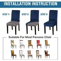 Velvet Dining Chair Covers Stretch Chair Covers for Dining Room Set of 4 Parson Chair Slipcovers Chair Protectors Covers Dining, Soft Thick Solid Velvet Fabric Washable,Navy
