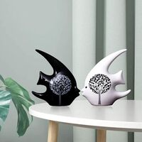 Fish Statues for Home Decor, Tree Life Ceramic Modern White Black Big Bookshelf Table Top for Living Room Accessories Accents Items Set 2, Art Sculptures Figurines Small Office Fireplace.