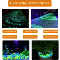 Glow in The Dark Rocks for Outdoor Decor, 200pcs Pebbles Stones for Yards Lawns Walkways Garden Driveway Plants and Aquarium,Lattice Panels for Outside Powered by Light and Solar