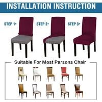 Velvet Dining Chair Covers Stretch Chair Covers for Dining Room Set of 4 Parson Chair Slipcovers Chair Protectors Covers Dining, Soft Thick Solid Velvet Fabric Washable, Red wine