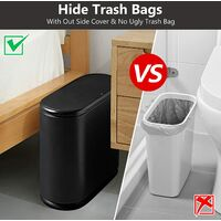 Trash Can, 10 Liter / 2.4 Gallon Plastic Slim Garbage Container Bin with Press Top Lid, White Waste Basket for Kitchen, Bathroom, Living Room, Office, Narrow Place(black)