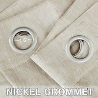52 - Inch Width by 84 - Inch Length Natural Linen Blended Curtain Panels for Living Room / Light Reducing Linen Sheer Curtains, Nickel Grommet Window Panels -Set of 2, white