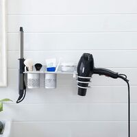 Wall Mount Hair Dryer Hanging Rack Organizer, Aluminum Hair Dryer Holder with 2 Cups