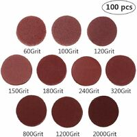 """100pcs 2 inch Sanding Discs Pad Kit for Drill Grinder Rotary Tools with Backer Plate 1/8"""" Shank Includes 60-2000 Grit Sandpapers"""