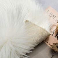 Faux Sheepskin Fur Area Rugs Round Fake Fur Throw Rug Fluffy Home Decor Living Room Floor Mat Circular Bedside Carpet for Bedroom Soft Circle Kids Play Mat for Nursery, 4ft Diameter, White