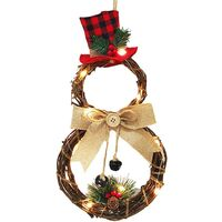 Christmas Front Door Wreath Xmas Wreath Decor with Battery Operated LED Lights, Grapevine Wreath 15.75 * 7.87 Inch Winter Wreath for Door Holiday Christmas Decorations