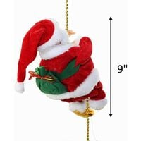"""Battery Operated Lovely Climbing Santa Claus Christmas Ornament Present 9"""" Decoration Enjoyable Gift Toy 
