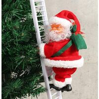 Christmas Decoration Doll, Climbing Ladder Santa Claus Toy Battery Operated Music Doll Xmas Tree Hanging Ornaments Accessories Gift for Kids