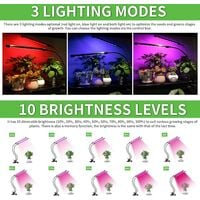 Led Grow Light for Indoor Plants, Dual Head 40 LED 10 Dimmable Levels Timing Function 3/9/12H, Full Spectrum Plant Grow Lamp for Seedling, 3 Switch Modes 360° Adjustable Gooseneck - 20W