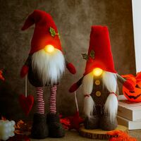 Christmas Decorations Ornaments Holiday Home Living Decor,Large Standing Christmas Gnomes,Light up Nose Swedish Tomte Gnome Plush with Retractable Spring Legs Pointed Hat