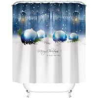 Taysta 4PC Christmas Tree Pine Forest Snow Shower Curtain Sets Non-Slip Rug, Toilet Lid Cover, Bath Mat, Happy New Year Blue White Ball Gift Castle Church Gate Xmas Bathroom Decor Waterproof Curtains