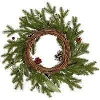 40cm / 15.75 Inch Decorated PE Christmas Wreath Pine Cone Red Fruit with White Glitter, 1Pc