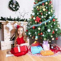 Christmas Tree Skirt, 48 Inch Large Snowflake Reindeer Knitting Christmas Tree Skirt, Merry Christmas Happy New Year Holiday Outdoor Indoor Festival Supermarket Decorations