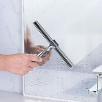 """Bathroom Shower Squeegee Clear Glass Wall Cleaner Bath Stainless Steel with Suction Storage Hook - 10"""", Chrome"""