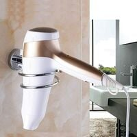 Stainless Steel Bathroom Hair Dryer Holder Hair Care Tools Holder Wall Mount Chrome Finished