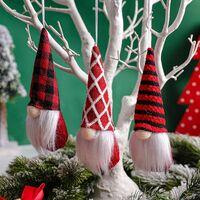 Christmas Tree Gnomes Hanging Ornaments,Handmade Plush Gnome Santa Elf Red Strip and Plaid,Windows Hanging Home Decor Holiday Decorations for Xmas Gifts, Xmas Tree Hanging