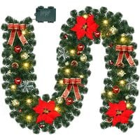 9 Foot Christmas Lighted Garland, Battery Operated Christmas Garland with Lights, Pre Lit Garland Wreath with Christmas Ball Ornaments for Indoor Home Winter Holiday New Year Xmas Decorations