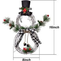 Christmas Wreath Hanging Decor, Wreath Pendant LED Wreath Wall Ornaments Christmas Wreath Home Decoration, Xmas Rattan Circle Snowman Garland for Home/Window/Indoor/Outdoor