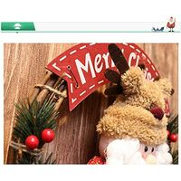 Christmas Wreaths with Cute Doll,Christmas Wreath Hanging Decor, Xmas Garlands Decoration Christmas Door Wreaths, Hanging Ornaments Decors for Home Shop Window Hall Christmas Tree Decors