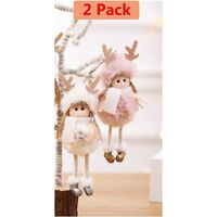Christmas Decoration 2 Pieces Elk Angel Doll Pendant Tree Hanging Ornaments Christmas Crafts Elves Decorations Pink and White
