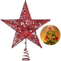 Christmas Tree Star Topper, 10 Inch Xmas Tree Topper Star Christmas Decoration Glittered Tree-top Star for Christmas Tree Ornament Indoor Party Home Decoration