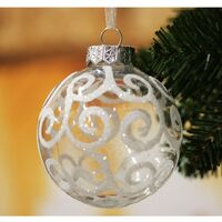 Shatterproof White Christmas Tree Ball Ornaments, Transparent Swirl, 3.15 inch, Set of 12
