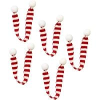 Christmas Decoration 5PCS DIY Knitting Striped Fur Ball Decoration Small Scarf Christmas Red and White Striped Scarf Outdoor Warm Scarf (2x30CM)
