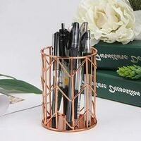 Pen Holder for Desk, Make Up Brush Holder Rose Gold Metal Wire Pencil Cup Holders 5.08 x 4.25 x 3.78 inches