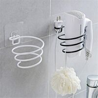 2 Pcs Creative Wrought Iron Drying Rack Without Punching Bathroom Hair Dryer Rack Bathroom Accessories Hair Dryer Storage Shelf