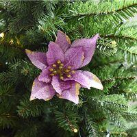Christmas Decorations Clearance 10pcs 13cm Glitter Artificial Wedding Christmas Flowers Xmas Tree Wreaths Decor Ornament (Purple)