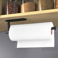 Adhesive Paper Towel Holder Under Cabinet Wall Mount for Kitchen Paper Towel, Black Paper Towel Roll Holder Stick to Wall, SUS304 Stainless Steel BLACK