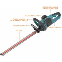 WESCO 36V Cordless Hedge Trimmer, 61CM Dual Action Cutting Blades, 27MM Cutting Capacity, 2.0Ah X 2 Li-ion Battery & Fast Charger, Cordless Trimmer for Hedges/Shrubs/Bushes Trimming, WS8263