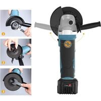 Angle Grinder, WESCO 18V 4.0Ah Cordless Angle Grinder, 8000 RPM Motor, 3 Metal Grinding Discs Ø: 115mm, with Additional Handle, Battery and Charger, Ideal for Carpenters, Builders, Electricians/WS2941.1