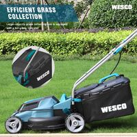 WESCO Cordless Lawnmower Battery Mower, 2Pcs 18V 4.0Ah Li-Ion Battery, 34cm Cutting Width, 6-Stage Cutting Height Adjustment (33-83mm), 30 Litre Grass Box, Foldable Handle /WS8701